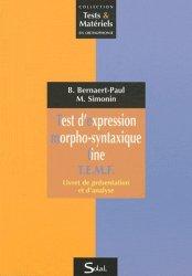 Dernières parutions dans Tests et Matériels en Orthophonie, Tests d'expression morpho-syntaxique fine T.E.M.F