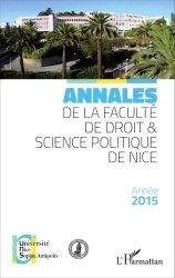 Annales de la faculté de droit et science politique de Nice. Edition 2015