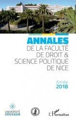 Annales de la faculté de droit et sciences politiques de Nice. Année 2018