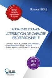 Annales de l'examen Attestation de capacité professionnelle, 6 années (2015 à 2020)