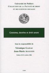 Coutumes, doctrine et droit savant