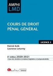 La couverture et les autres extraits de Cours de droit penal général. 6e édition