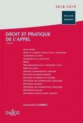 Droit et pratique de l'appel. Edition 2018-2019
