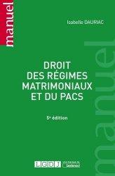 Droit des régimes matrimoniaux et du PACS. 5e édition