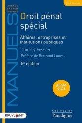Droit pénal spécial. Affaires, entreprises et institutions publiques, 5e édition