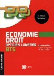 Economie Droit Opticien Lunetier BTS