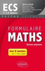 Formulaire maths ECS 1e et 2e années