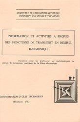 Information et activités à propos des fonctions de transfert en régime harmonique