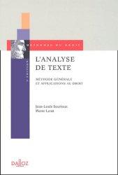 L'analyse de texte. Méthode générale et applications du droit, 5e édition