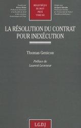 La résolution du contrat pour inexécution