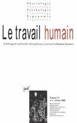 Le travail humain Volume 71 N° 1, Janvier 2008