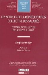 Les sources de la représentation collective des salariés. Contribution à l'étude des sources du droit