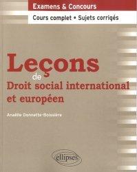 Leçons de droit social international et européen