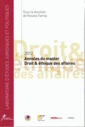 2012 - Annales du master Droit et éthique des affaires