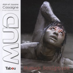 Mud human Sculpture. Woman Performance Photography in Mud