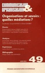 Organisations et savoirs : quelles médiations