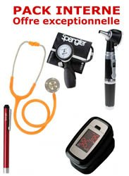 PACK INTERNE - Tensiomètre manopoire SPENGLER Lian Nano - Stéthoscope Magister - Otoscope Spengler SMARTLED à LED et fibre optique - OXYSTART - Oxymètre de pouls - Lampe stylo à LED Litestick Spengler  - ORANGE