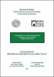 Promesses et actes unilatéraux. 7e journées d'études Poitiers-Roma TRE