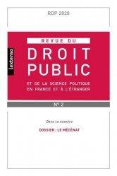 Revue du droit public et de la science politique en France et à l'étranger N° 2/2020