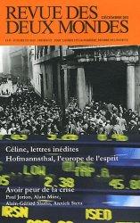 Revue des deux Mondes Décembre 2011 : Psychologie de la crise