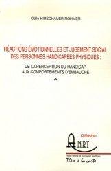 Réactions émotionnelles et jugement social des personnes handicapées physiques : de la perception du handicap aux comportements d'embauche