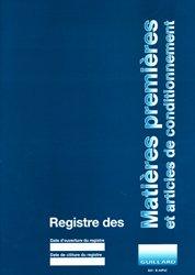 Registre des matières premières et articles de conditionnement