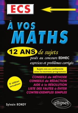 A vos maths ECS - ellipses - 9782340032651 -