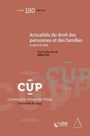 Actualités du droit des personnes et des familles. Le point en 2018 - Anthemis - 9782807203716 -