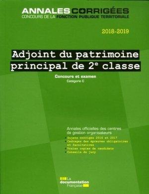 Adjoint du patrimoine principal de 2e classe. Concours et examen catégorie C, Edition 2018-2019 - La Documentation Française - 9782111455290 -