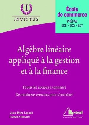 Algèbre linéaire appliqué à la gestion et à la finance - breal - 9782749536644 -