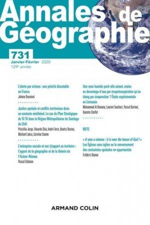 Annales de géographie - Nº 731 1/2020 Varia - armand colin - 9782200932763 -