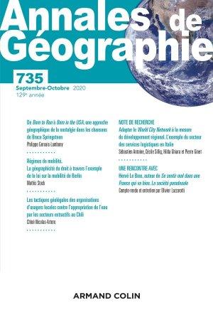 Annales de géographie - Nº 735 4/2020 - armand colin - 9782200933982 -