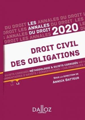 Annales Droit civil des obligations. Méthodologie & sujets corrigés, Edition 2020 - dalloz - 9782247188024 -