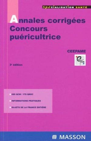 Annales corrigées - Concours puéricultrice - elsevier / masson - 9782294087851 -