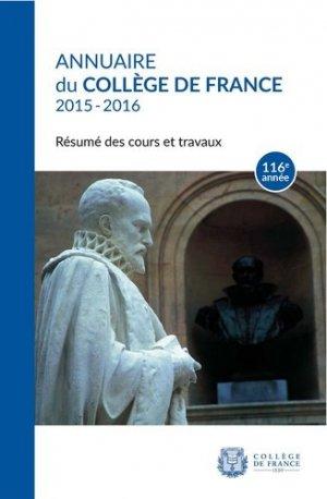 Annuaire du Collège de France 2015-2016 - Collège de France - 9782722604827 -