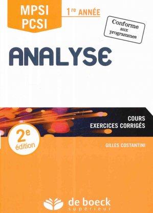 Analyse MPSI / PCSI 1re année - de boeck superieur - 9782807306394 -