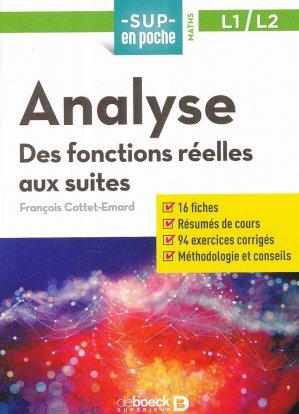 Analyse : des fonctions aux suites, L1-L2 - de boeck superieur - 9782807315891