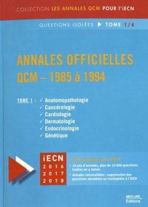Annales officielles QCM - 1985 à 1994 Tome 1 - med-line - 9782846781763 -