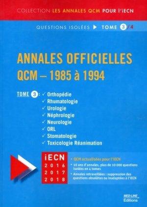 Annales officielles QCM - 1985 à 1994 Tome 3 - med-line - 9782846781800 -