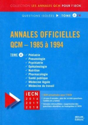 Annales officielles  QCM - 1985 à 1994 Tome 4 - med-line - 9782846781817 -