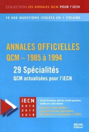 Annales officielles  QCM - 1985 à 1994 - med-line - 9782846781855 -