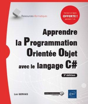 Apprendre la programmation orientée objet avec le langage C# - eni - 9782409020568 -