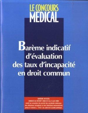 Barème indicatif d'évaluation des taux d'incapacité en droit commun - concours medical - 9782912176967 -