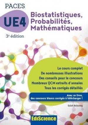 Biostatistiques Probabilités Mathématiques-UE 4 PACES - édiscience - 9782100748839 - mathématique, biostatistique