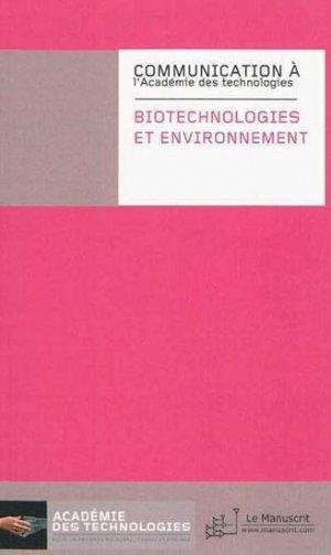 Biotechnologies et environnement - le manuscrit - 9782304033465 -