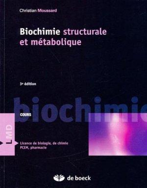 Biochimie structurale et métabolique - de boeck superieur - 9782804152369
