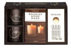 Bougies Home Made. Coffret avec 2 verres à bougie, 2 mèches en coton, 1 sachet de cire de soja et 1 livret - Hachette - 9782019451882 -