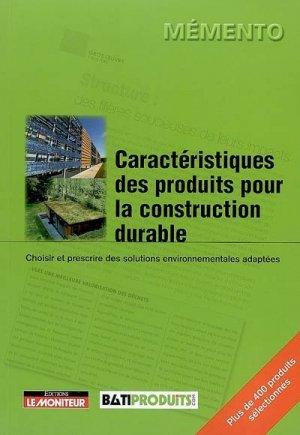 Caractéristiques des produits pour la construction durable - groupe moniteur - 9782281114119 -