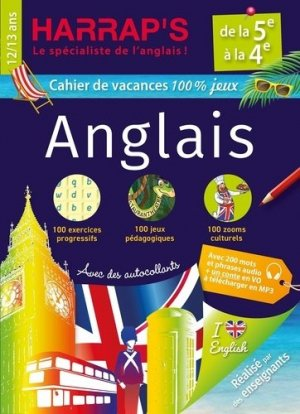 Cahier de vacances Harrap's 100 % jeux Anglais de la 5e à la 4e - harrap's - 9782818707487 -