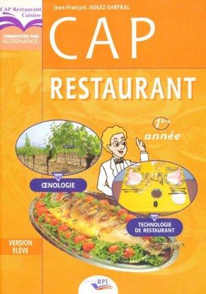 CAP Restaurant - Technologie de restaurant, Oenologie - bpi - best practice inside  - 9782857083511 -